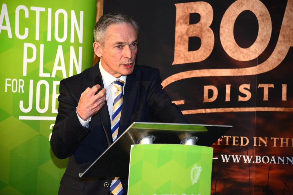 Minister for Jobs, Enterprise and Innovation Richard Bruton speaking at the publication of the Government's Action Plan for Jobs in the North East/North West at the new Boann Distillery in Drogheda today. Photo: Andy Spearman.