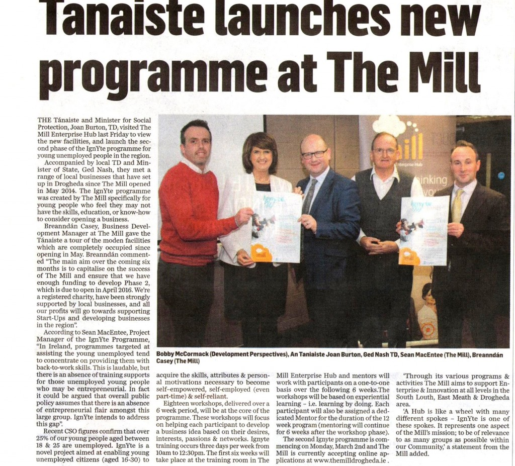 Tanaiste Joan Burton launches - Ignyte - Ignyte - Free Start your own Business programme for those unemployed aged 16 to 30 years of age in Drogheda Dundalk Balbriggan Louth