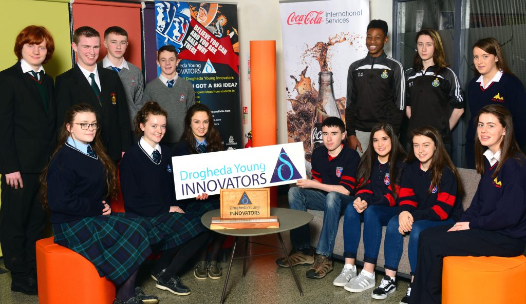 Pictured at the launch of the Drogheda Young Innovators 2017 competition at the Mill Enterprise Hub were: Back row, from left: Cian McGrady McGuirk and Charlie Kinsella of Drogheda Grammar School (last year's winners) Sean Rice and Ryan Sands of St. Joseph's CBS, Danny Onijanwa and Barry Tiernan of St. Oliver's Community College and Courtney Dowling of Scoil Ui Mhuiri, Dunleer. Front row, from left: Charley McKenna, Caoimhe Doyle and Anna Savage of Our Lady's College, Greenhills, Brian Jackson, Laureen Ayson and Rosie Kelly of Ballymakenny College and Grainne Murray of Scoil Ui Mhuiri, Dunleer. Photo: Andy Spearman.