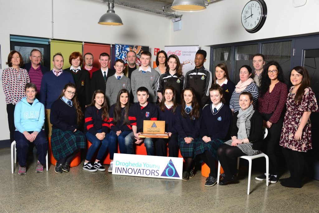 Students and teachers from local schools with sponsors and organisers at the launch of the Drogheda Young Innovators 2017 competition at the Mill Enterprise Hub. Photo: Andy Spearman.