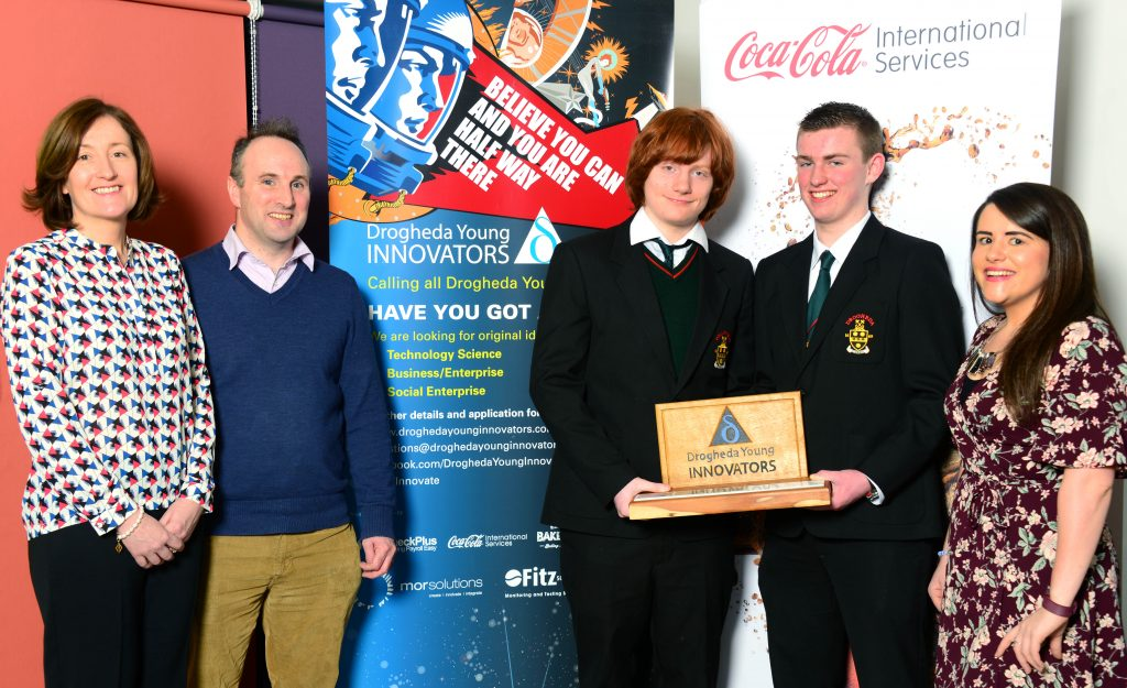The winners of last year's Drogheda Young Innovators competition, Cian McGrady McGuirk and Charlie Kinsella of Drogheda Grammar School, pictured at the launch of the 2017 competition with their business teacher Michelle McEneaney (right), Margaret Woods of Coca-Cola International Services, one of the sponsors, and Breanndán Casey, Business Development Manager at The Mill, Drogheda's Enterprise Hub. Photo: Andy Spearman.