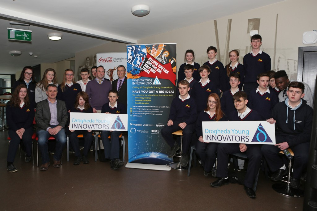 Launch of Drogheda Young Innovators.  Breanndain Casey of The Mill, Eddie Carey of Coca Cola, Geoff Fitzpatrick of Fitz Scientific and representatives from Scoil Ui Mhuiri, Dunleer Photo-Jenny Matthews