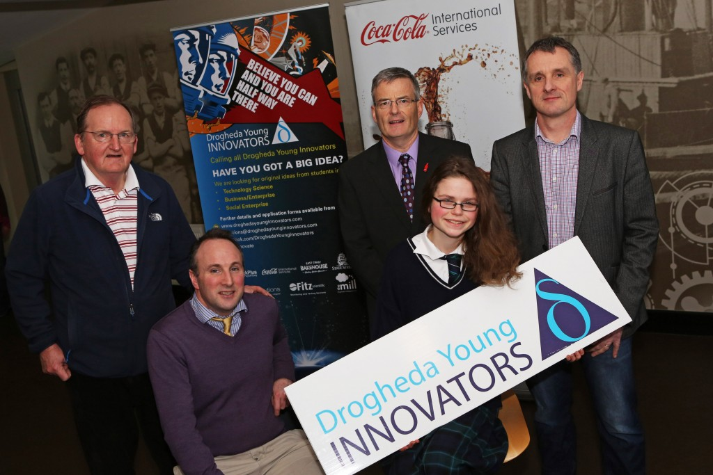 Launch of Drogheda Young Innovators.  Breanndain Casey and Sean McEntee of The Mill, Eddie Carey of Coca Cola, Geoff Fitzpatrick of Fitz Scientific and Elle Loughran, 2015 Winner from Greenhills School. Photo-Jenny Matthews