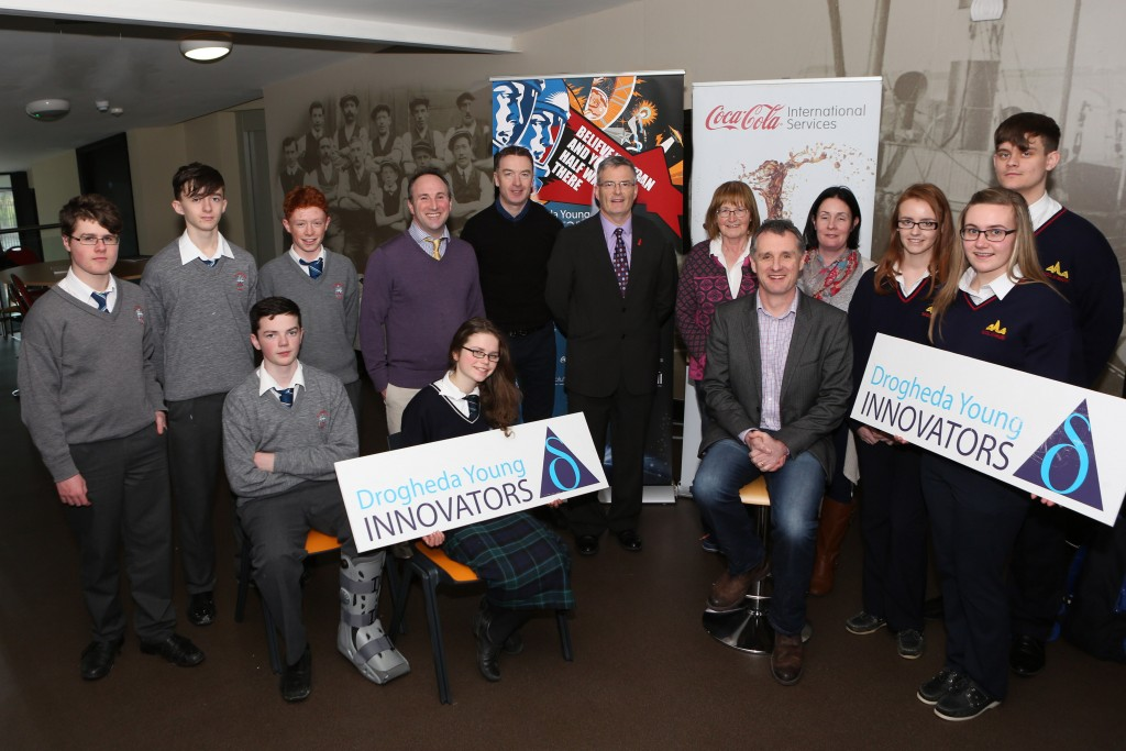Launch of Drogheda Young Innovators.  Breanndain Casey of The Mill, Eddie Carey of Coca Cola, Geoff Fitzpatrick of Fitz Scientific and representatives from Scoil Ui Mhuiri, Dunleer, St Josephs and Greenhills. Photo-Jenny Matthews