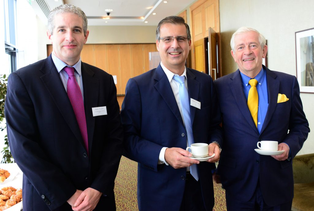 Michael Wasserfuhr (centre) Vesta CFO and Board member of ATPC, one of the speakers at the M1 Payments Corridor conference at the City North Hotel with Paddy Beagan of vesta (left) and  Padraic White former Managing Director of IDA Ireland and Chairman of Louth Economic Forum. Photo: Andy Spearman.