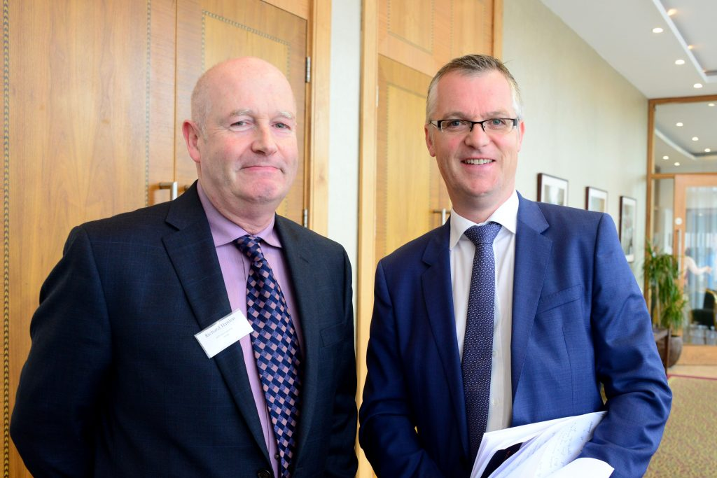 2-Richard Hanlon of Vesta (left) and Thomas McEvoy of Louth LEO at the M1 Payments Corridor conference at the City North Hotel. Photo: Andy Spearman.