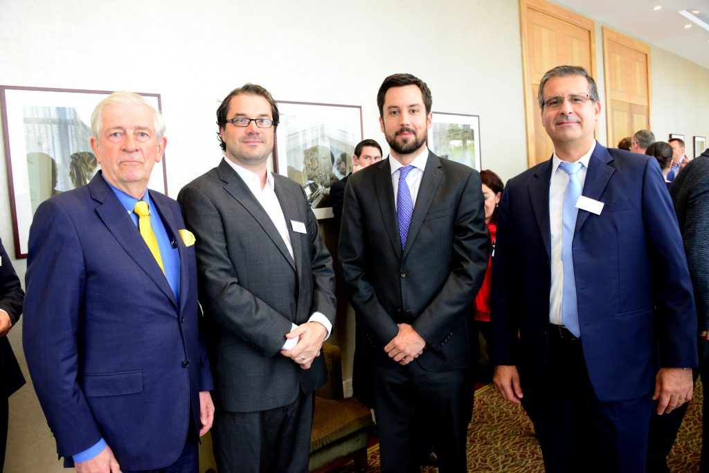 3-Pictured at the M1 Payments Corridor conference at the City North Hotel (from left) Padraic White former Managing Director of IDA Ireland and Chairman of Louth Economic Forum, Alan Cassidy of Ruby Consulting, Minister of State for Financial Services, eGovernment and Public Procurement Eoghan Murphy and Michael Wasserfuhr, Vesta CFO and Board member of ATPC, one of the speakers . Photo: Andy Spearman.