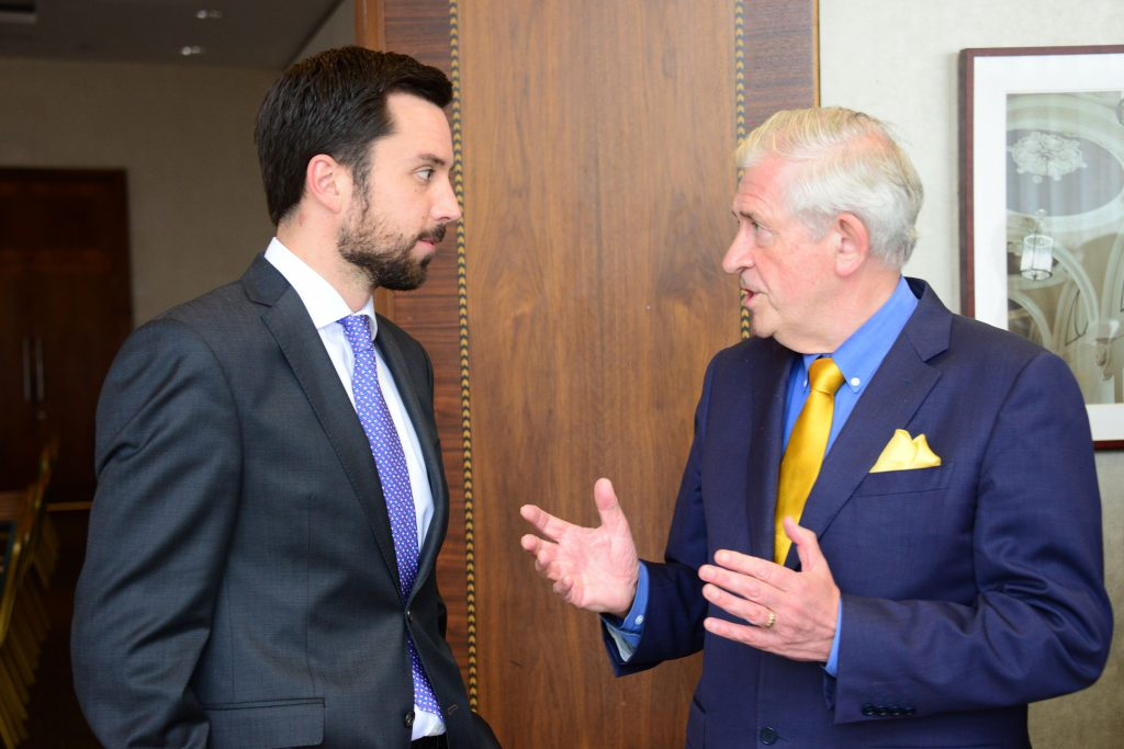 4-Minister of State for Financial Services, eGovernment and Public Procurement Eoghan Murphy (left) and Padraic White formerly of IDA Ireland and Chairman of Louth Economic Forum. Photo: Andy Spearman.