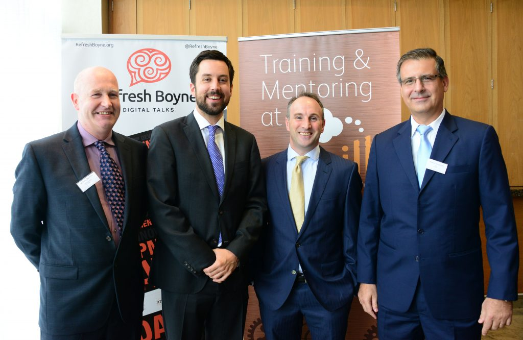 5-Pictured at the M1 Payments Corridor conference at the City North Hotel (from left) Richard Hanlon of Vesta, Minister of State for Financial Services, eGovernment and Public Procurement Eoghan Murphy, Breanndan Casey of The Mill Drogheda Enterprise Hub and Michael Wasserfuhr, Vesta CFO and Board member of ATPC, one of the speakers . Photo: Andy Spearman.