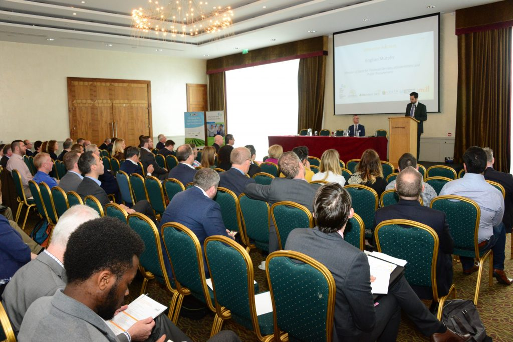 9-Minister of State for Financial Services, eGovernment and Public Procurement Eoghan Murphy speaking  at the M1 Payments Corridor conference at the City North Hotel. Photo: Andy Spearman.