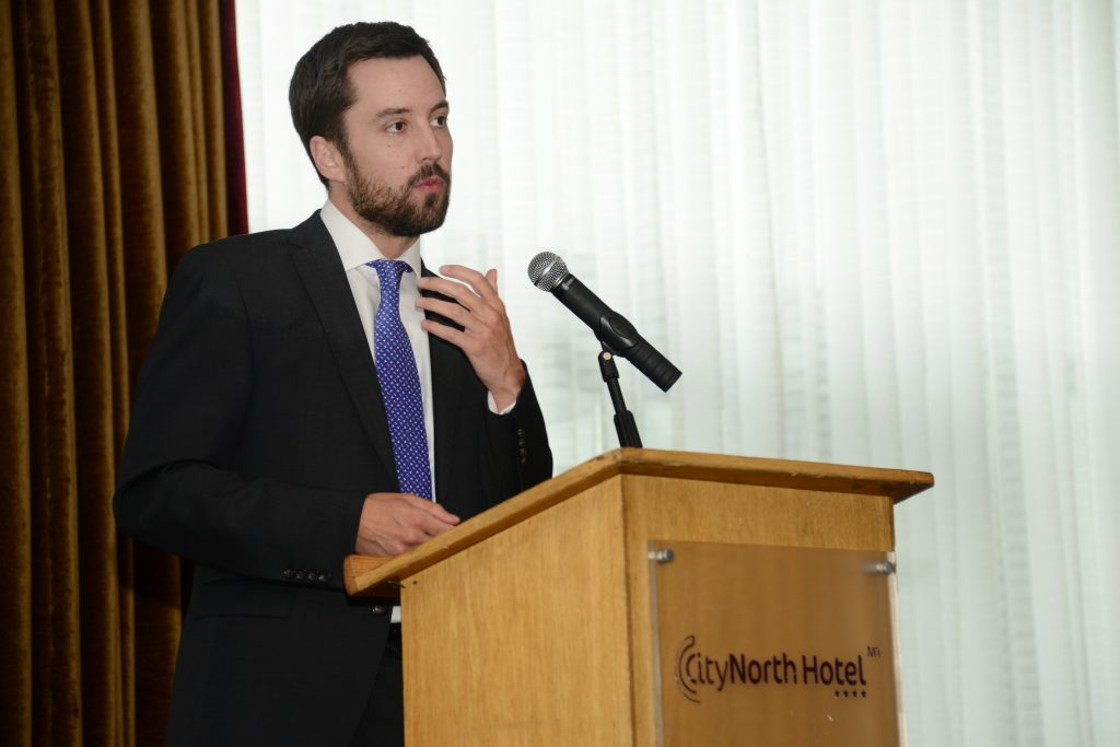 Minister of State for Financial Services, eGovernment and Public Procurement Eoghan Murphy speaking  at the M1 Payments Corridor conference at the City North Hotel. Photo: Andy Spearman.