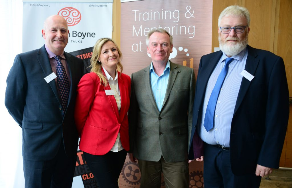 Chris Skinner (2nd from right), the Keynote speaker at the M1 Payments Corridor conference at the City North Hotel with (from left) Richard Hanlon of Vesta, Miriam Roe of Louth County Council and Brendan Murray of IBM. Photo: Andy Spearman.