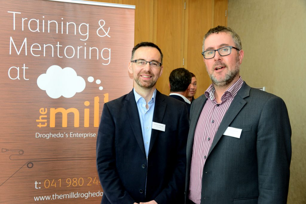Keith Fingleton of the IDA (right) with Graham O'Rourke, Chairman of the Mill Enterprise Hub at the M1 Payments Corridor conference at the City North Hotel. Photo: Andy Spearman.